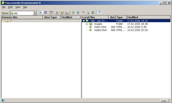 dreamweaver панель Files