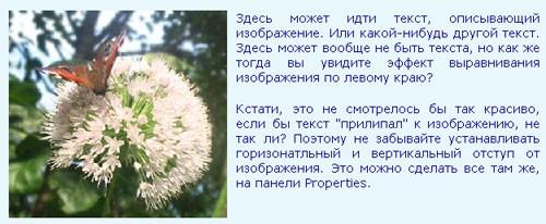пример размещения изображения слева от текста
