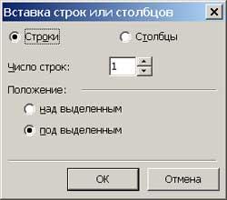 Диалоговое окно добавления новых строк/колонок